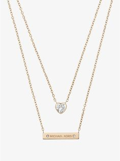 0ae3332230614 Gold-Tone Double-Strand Pendant Necklace. Michael Kors ...