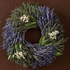 Casual and refined, the Lavender Herb Wreath is crafted by hand from stalks of lavender interlaced with bay leaves, savory and yarrow. Shop the Lavender Herb Wreath today! Dried Lavender Bunches, Lavender Wreath, Dried Flowers, Lavender Crafts, Room Scents, Magnolia Wreath, Church Flowers, Christmas Tree Wreath, Mothers Day Flowers