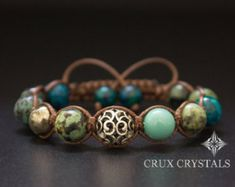 Peacock Feather Shamballa Style Women's Charm by CruxCrystals