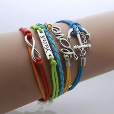 The Shopping Passion ~ Products ~ Anchor Leather Bohemian Infinity Wrap Bracelet ~ Shopify