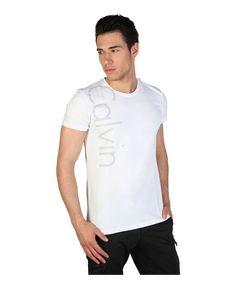 Calvin klein jeans - t-shirt uomo, maniche corte - girocollo - 95% co 5% el - logo stampato - lavare 40°c - T-shirt uomo Bianco