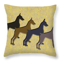 $27.00 Check this out, you will be fullfilled to share one of these pillows in your home decoration!! purchase it in http://mariac-martinez.pixels.com/products/dobermanscolors-of-the-soul-maria-c-martinez-throw-pillow.html