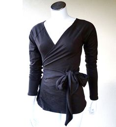 Organic cotton wrap - womens wrap - wrap around shirt - black top - romantic blouse - long sleeve tunic shirt - organic clothes for women. $79.00, via Etsy.
