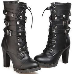 Mostrin Women Motorcycle High Heels Punk Buckle Rivet Strap Combat Military Mid Calf Boots *** To view further for this item, visit the image link. High Heel Cowboy Boots, Cowgirl Boots, Heeled Boots, Shoe Boots, Western Boots, Black Cowgirl, Boot Heels, High Boots, Lace Up High Heels
