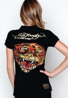 4247a2a0946 oNeKn ED Hardy Women New Tiger Polo in Black Polo Sale