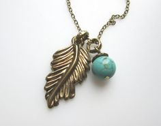 Leaf Necklace with Turquoise Stone by luckysparks on Etsy, $7.99