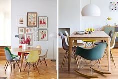 Décoration idée inspiration avec chaise de table RAR pied bois design Eames jaune bleu vert rouge salle à manger cuisine style scandinave où acheter