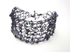 Knit Copper Wire Bracelet Double Strand Violet Blue Sweetheart Toggle