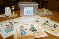 Check out our new Solution Kit! We made this to help the children learn positive problem solving skills. You can read more about. Preschool Social Skills, Social Skills Autism, Social Emotional Development, Social Emotional Learning, Counseling Activities, Preschool Activities, School Counseling, School Social Work, Social Thinking