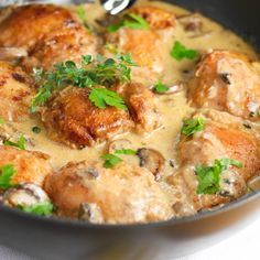 Creamy Chicken and Mushroom Skillet- All in one pot!