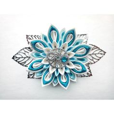 Kanzashi hair clip/Steam punk hair accessories/Kanzashi... ($14) ❤ liked on Polyvore featuring accessories, hair accessories, ribbon hair clips, barrette hair clips, flower hair clips, steampunk hair accessories and flower hair accessories