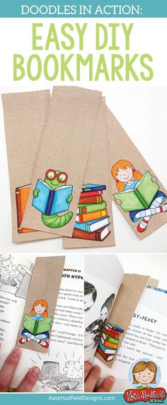 Really easy tutorial for using clip art or digital scrapbooking supplies to create personalised bookmarks for your kids! Easy DIY Bookmarks from Kate Hadfield Designs #katehadfielddesigns