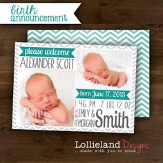 Baby Boy Birth Announcement- Alexander