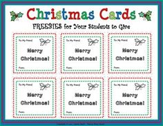Christmas Cards - FREEBIES for your students to give! These short, simple and sweet Christmas cards provide the following activities...