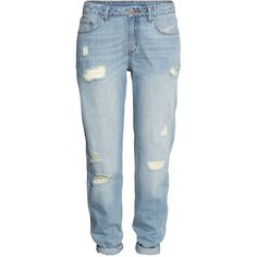 H&M Boyfriend Low Jeans (€11) ❤ liked on Polyvore featuring jeans, pants, bottoms, trousers, denim blue, h&m boyfriend jeans, low-rise boyfriend jeans, blue jeans, low jeans and h&m jeans