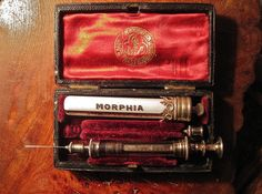 "Victorian 'Morphia' set -  ""When the stomach is very sensitive and will not tolerate their internal administration, one-sixth of a grain of Morphia can be inserted beneath the skin by means of a hypodermic syringe. Relief is more quickly experienced, and the anodyne effect is much more lasting, than when taken into the stomach"". - The People's Common Sense Medical Adviser in Plain English or Medicine Simplified by R. V. Pierce, M.D."