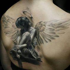3D Angel Tattoo Inked On Back
