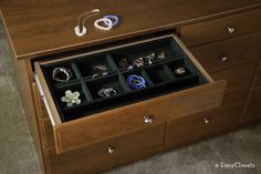 Organize every area of your home with do-it-yourself custom closet and home organization systems from EasyClosets. Jewelry Drawer, Jewelry Tray, Jewellery Storage, Walk In Closet Design, Closet Designs, Home Organization Hacks, Jewelry Organization, Organizing Tips, Striped Ceiling