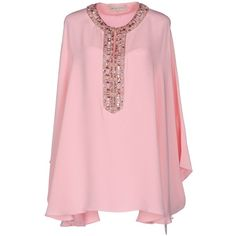 Emilio Pucci Kaftan (29,625 HNL) ❤ liked on Polyvore featuring tops, tunics, pink, long sleeve tunic, caftan tunic, emilio pucci kaftan, pink top and rhinestone tops