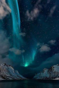 ❝ North Sky ❞  The Stunning Aurora of Ersfjordbotn, Troms Fylke, Norway  photo by: Adrian Bucher.