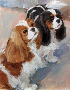 """Waiting, Watching and Wagging"" canvas giclee print by Lindsey Bittner Graham giclee on canvas ~ 10 x 8 Cavalier King Charles Spaniels Blenheim and Tri Cavalier King Charles Dog, King Charles Spaniel, Dog Portraits, Animal Paintings, Dog Art, Dog Pictures, Pet Birds, Illustrations, Artwork"
