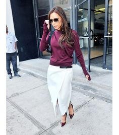 @Who What Wear - Tip 11: Trade in your standard pencil skirt for an asymmetrical wrap skirt.                 Basics, like Victoria Beckham's Chanel sweater, feel fresh when paired with an unexpected skirt.  ​Get The Look: Club Monaco Lula Asymmetrical Wrap Skirt ($150)