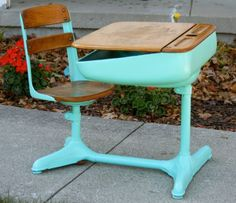 soulmate24.com Mid-Century Vintage Antique School Student Desk w/ Swivel Chair in Antiques, Furniture, Desks & Secretaries, Unknown | eBay
