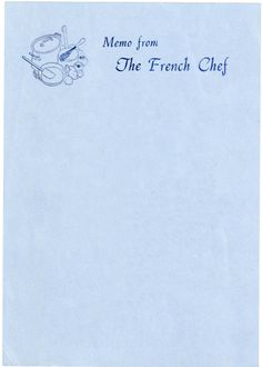 The letterhead of chef Julia Child, 1980