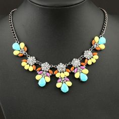 Colorful Gemstone Statement Necklace Beautiful and brand new! Jewelry Necklaces