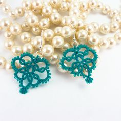 """""""Handmade lace earrings Victorian retro inspired lace jewelry - bridesmaid gift - blue teal"""" by Decoromana Tatting Earrings, Lace Earrings, Lace Jewelry, Jewlery, Needle Tatting, Tatting Lace, Tatting Patterns, Bobbin Lace, Bridesmaid Gifts"""