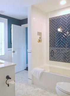 CW Design, LLC - Blue and White Herringbone Boys Bath with Porcelain Chevron Floors Small Space Bathroom, Boy Bathroom, Master Bathroom, Chevron Floor, Interior Design Portfolios, House Of Turquoise, Bathroom Tile Designs, Kitchen And Bath Design, Beautiful Bathrooms