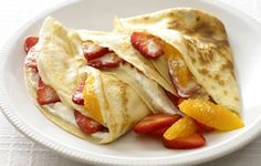Strawberry and Orange Crêpes. Light, melt-in-the-mouth pancakes with ...