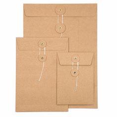 Kuvert mit Schnürverschluß / String & Button Envelope | C4 (22,9 x 32,4cm) | Artikelnummer: C4_kraft Rsvp, Envelope, Stationery, Diy, Kraft Paper, Envelopes, Paper Mill, Bricolage, Stationery Set