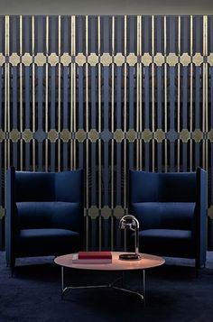 Semplice e moderno nero e bianco a strisce verticali carta da parati albergo dedicato abbigliamento negozio PVC Works sfondo a