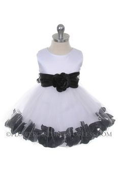 Flower Girl Dress Style 152-Choice of White or Ivory Dress with Black Sash and Petals $49.99