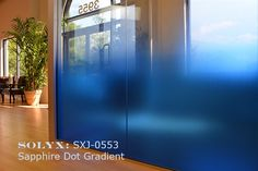 "Decorative Films | Window Film | Stained Glass | Privacy | Treatment - SOLYX: SXJ-0553 Sapphire Dot Gradient. 53"" High"