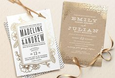 Pretty gold wedding invitations from Minted + a $3500 giveaway on GWS!!