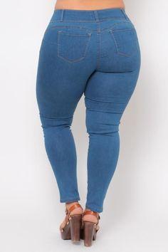 Plus Size Push Up Denim Jean - Medium Wash