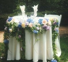 Garlands, Silk, Natural, Crystal & Flower Garlands Idea: Use garland around tables. Floral Wedding Decorations, Flower Decorations, Wedding Flowers, Wedding Ideas, Wedding Stuff, Floral Garland, Flower Garlands, Top Table Flowers, Vintage Country Weddings