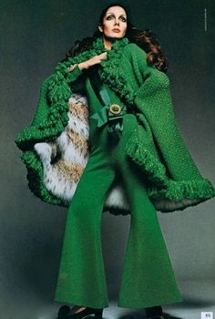 1969. Vogue Italia. Green, flared jumpsuit with matching cape. Hoping that cape is lined with faux-fur.