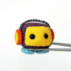 Retro Robot MochiQtie  Crochet Amigurumi mochi size by MochiQtie, $15.00