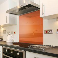 orange splashback kitchen - Google Search