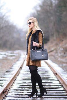 Instant Glamour: H&M A-line swing hem dress, black faux fur vest, Brahmin 'Small Lincoln' satchel, Stuart Weitzman 'Highland' black suede over the knee boots, faux fur worn over dress
