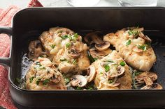 Eating smart means eating deliciously when you offer up zesty fish with fresh mushrooms and melty cheese.