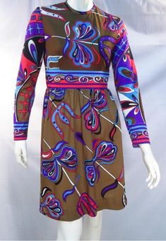2feebe31f4bc Vintage 60 s Abstract Empire Waist Border Print Brown Midi Dress     Unbranded Border Print