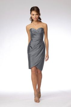 love this! grey bridesmaid dress..... Would be lovely in any color to match the bow cake