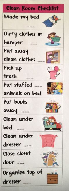 Clean room checklist for the kids! Laminate and use a dry erase. Kids have clean rooms!