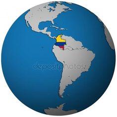 Bandera de Colombia en el mapa de mundo — Foto de Stock #4977923 Colombia Flag, Colombia South America, Colombia Travel, Ecuador, Colombian People, Venezuelan Women, World Globes, Disney Facts, Vacation Spots