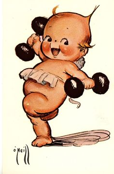 Kewpie were initially conceived as comic strip characters by Rose O'Neill. The cartoons, appearing as baby cupid characters, began to gain popularity after the publication of O'Neill's comic strips in 1909, and O'Neill began to illustrate and sell paper doll versions of the Kewpies. The characters were produced as bisque dolls beginning in 1912, and became extremely popular. The bisque and composition versions of Kewpie dolls are widely sought-after, especially those hand-signed by O'Neill.