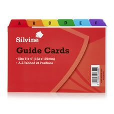 Silvine Guide Cards A To Z Coloured Tabs